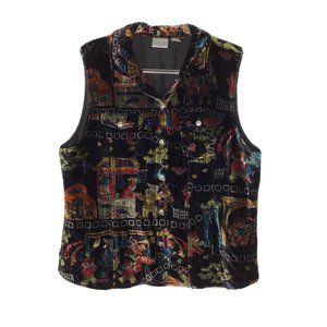 Chicos Button Front Velvet Vest XL Black Halloween
